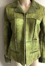 Distressed Green Shearling Jacket by Chanel Identification lambswool lined sm