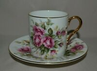 1960's HARLEIGH DEMITASSE SMALL FINE BONE CUP & SAUCER  W/ROSES   ENGLAND