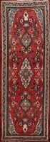 Vintage Traditional Floral Hand-knotted Runner Rug Wool Oriental Carpet 4x10 RED