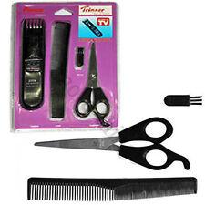 Mens Beard Facial Hair Trimmer Trim Cutting Set Comb Brush & Scissors Pk of 4 Uk