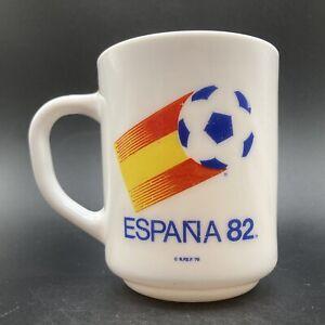 Vintage 1982 Espana 82 Football World Cup Toughened Glass Mug Arcopal France