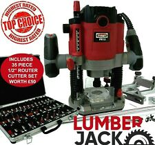 """Variable Speed 1/2"""" Electric 240V 1800W Plunge Router & 35Pc Router Cutter Set"""