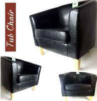 Tub Chair Leather Brown Bonded Armchair Dining Living Room Office Reception
