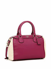 NWT Coach Shearling Mini Bennett  Satchel Handbag in Cranberry/Natural F 36689