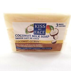 Kiss My Face Coconut Milk Bar VEGAN Soap Coconut Citrus with Mango Butter 3 PACK