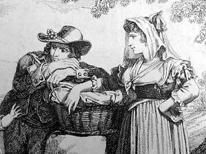 Trachten von GONZANO Bartolomeo PINELLI Radierung 1832 Volksleben in Italien TOP