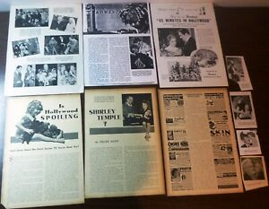 SHIRLEY TEMPLE + 30 - 1920's-30's PAGE CLIPPINGS from movie mags/B.Crosby/Gaynor