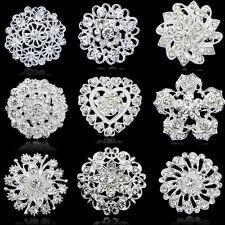 Fashion Rhinestone Crystal Flower Wedding Bridal DIY Bouquet Women Brooch Pin