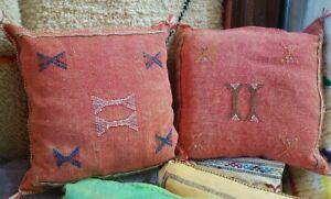 2 vintage Cactus silk pillow handmade sabra pillow Moroccan cushion decorative
