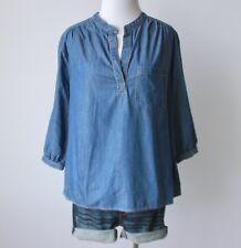 PLEIONE Anthropologie Denim Jean Chambray Mandarin Collar Blouse Top Shirt S