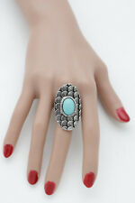 Western Stlye Jewelry Turquoise Blue Bead Women Silver Metal Ring Ethnic Fashion