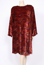 Original VINTAGE 1980's 80's VELVET BURNT RED 30s STYLE FLARED SMOCK DRESS! UK20