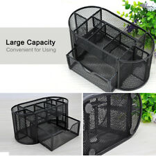 9 Compartment Pen Pencil Holder Desk Office Table Organizer Supplies Mesh Metal