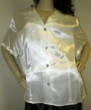 Vintage: Satin! Shiny White Satin Blouse Plus Size Nwot