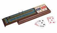 Royal Cribbage Board Walnut Box Storage With Pegs & Two Decks & Dealer Button