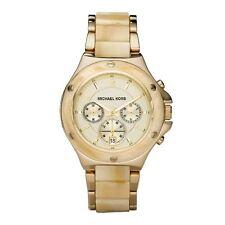 Michael Kors Uhr MK5449 Damen Chronograph Edelstahl Gold Acryl Beige Armbanduhr