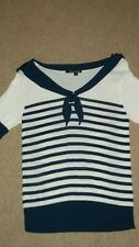 Lovely HELL BUNNY Knit jumper top NAUTICAL bow BLUE Stripe size S 10
