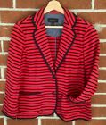 Talbots' Red and Blue Striped Jacket cotton Nautical Patriotic Blazer Size Lg