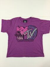 JUNK FOOD Graphic MTV Music-Television Women's S/Sleeve Crop T- Shirt Top Size M