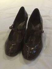 Clarks Women's Wedge Heels Brown Patent Shoes UK 6