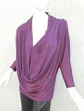 Alice + Olivia Shirt Purple Blouse Drape Front Sparkle Blouse Sz M