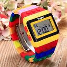 Colorido Unisex LED Reloj Hombre Mujer Infantil Digital Plástico Banda Sport