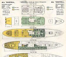 1961 Adriatica m/s ENOTRIA Tissue, Color-Coded Deck Plan - SSHSA sHiPs WORLDWIDE