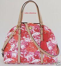 New COACH Peyton Floral Domed Satchel Handbag/Purse F31341–Brass/Pink/Multicolor