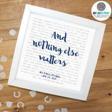 More details for metallica 'nothing else ma' - favourite framed lyrics poster - personalised gift