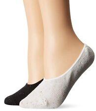 LOT OF 2 PAIR Steve Madden Women's Boot Liner Footie Sock - Black/White - 9-11