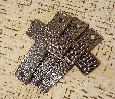 5 pcs Black Tone 46x27mm  Antique Hammered Sideways  Cross Bracelet Connector