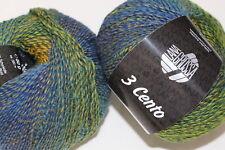 Wolle Kreativ! Lana Grossa - 3 Cento - Fb. 4 grün/blau/blauviolett/gelb 50 g