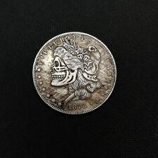 2PCS Hand Carved US 1878cc Morgan Dollar Coin Hobo Creative Skull Free Shipping