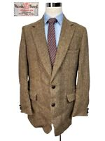 Vintage Harris Tweed Mens Brown Herringbone Wool Sport Coat Blazer 42L