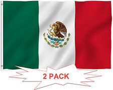 G128® TWO PACK of 3' x 5' ft Polyester Mexican Flag MEXICO High Quality
