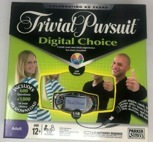 25th Year Trivial Pursuit Digital Choice Board Game 2008 complete  GWO VGC