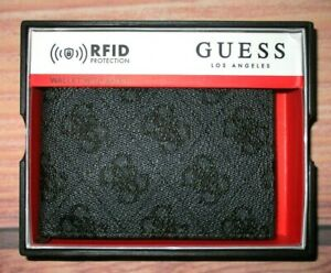 MENS GUESS BIFOLD BLACK CHARCOAL WALLET WITH ORIGINAL GIFT BOX