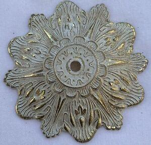 True Vintage Back Plate for Drawer Pull gold brass shabby white enamel paint