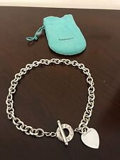 tiffanys & co heart charm toggle necklace