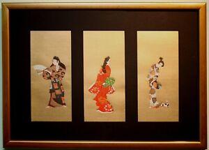 3 Original Ukiyo-e Japanese Art Paintings Woodblock Prints by Hishikawa Moronobu