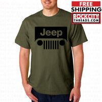 JEEP MILITARY GREEN T-SHIRT Wrangler Shirt Short Sleeve Cherokee Off Road Tee