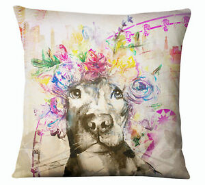 S4Sassy Decorative Artistic Dog Print Beige Pillow Case Square Cushion-WFf
