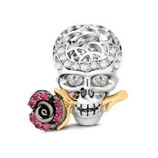 Genuine GNOCE New York Skull Love Rose Sterling Silver Crystal Charm NEW!