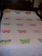 VINTAGE APPLIQUED QUILT; PASTEL BUTTERFLY BUTTERFLIES, WHITE BACKGROUND