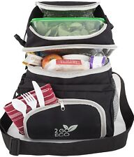 Freezable Lunch Bag Box Adults Men Women Insulated Soft Cooler Double Decker NEW