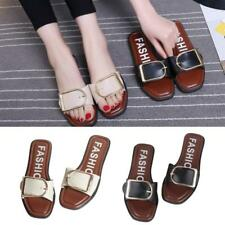Summer Women Metal Buckle Slippers Indoor Outdoor Sandals Beach Flip Flop Shoes