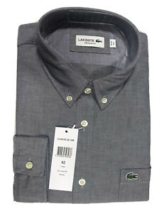 Lacoste Mens Oxford Long Sleeve Shirt Regular Fit FR 42 Large