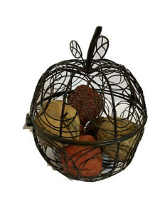 Wire Hinged Apple Fruit Bowl Wooden Decorative Apples