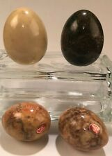 """LOT of 4 VTG Genuine Marble Stone Eggs Made in Italy 2- 2.5"""", 2- 3"""" Stand Up"""