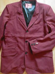 3 Button jacket skinhead mod suit deadstock Burgundy OG 44!